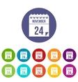 24 november calendar set icons vector image vector image