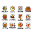 american cuisine food and drink restaurant icons vector image vector image