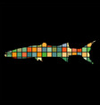 barracuda fish mosaic color silhouette aquatic vector image