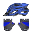 Blue Helmet and Gloves vector image