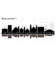 burlington iowa city skyline black and white vector image vector image