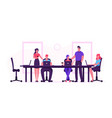business people sitting at desk during board vector image vector image