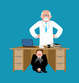 businessman scared under table of doctor to hide vector image vector image