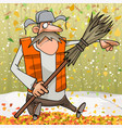 cartoon janitor with broom pointing finger to the vector image vector image