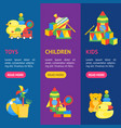 child toys banner vecrtical set vector image vector image