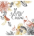 Christmas vintage floral greeting card vector image vector image