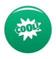 comic boom cool icon green vector image