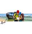 Couple of tourists near the boat on the beach vector image vector image