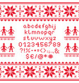 cross stitch lowercase alphabet with numbers vector image