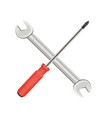 cross wrench and screwdriver logo vector image