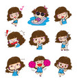 cute glasses girl character design vector image