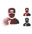 dissolving dotted halftone repairman icon vector image vector image