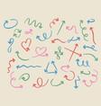 doodle arrows sketch pastel curved arrow handmade vector image