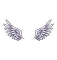 drawn wing angel wings with feathers elements vector image vector image