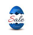 easter egg text sale happy easter egg 3d template vector image vector image