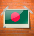 Flags Bangladesh scotch taped to a red brick wall vector image