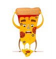funny pizza character vector image