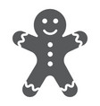 gingerbread man glyph icon christmas and sweet vector image vector image