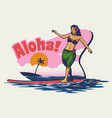 hand drawing hawaiian girl surfing vector image