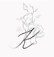 handwritten line drawing floral logo monogram k vector image vector image