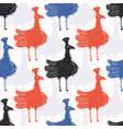 lino cut folk birds seamless pattern vector image