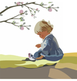 Little baby girl playing in a garden vector image