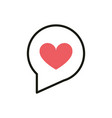 love speech bubble social media icon line and fill vector image