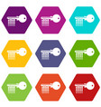 magnetic key icons set 9 vector image vector image