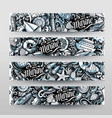 marine hand drawn doodle banners design vector image