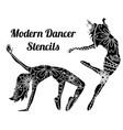 modern dancer stencils vector image vector image
