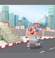 pig playing roller skate vector image vector image
