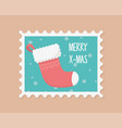 red sock celebration happy christmas stamp vector image vector image