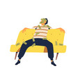 relaxed rich guy sitting on couch with money vector image