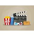 Retro movie set cinema items vector image vector image