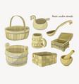 rustic wooden utensils vector image