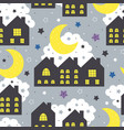 seamless pattern with night houses vector image vector image