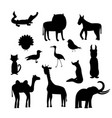 set of animal silhouettes isolated vector image