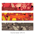 Set of three floral cards vector image