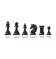set silhouettes chess piece icons vector image vector image