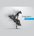 silhouette a break dancer from particles vector image vector image