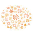 sketch bright suns icons concept vector image