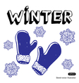 Snowflakes and mittens vector image vector image