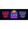sports cafe menu neon sign sport cafe menu vector image vector image
