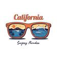 sunglasses with summer ocean sea beach vector image vector image