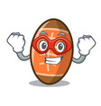 super hero rugby ball character cartoon vector image vector image