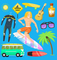 surfing active water sport surfer summer time vector image vector image