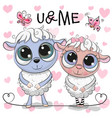 two sheep on a hearts background vector image vector image