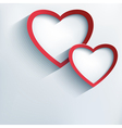 Valentine background with two stylish 3d hearts vector image vector image