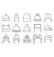 winter headwear outfit icon set outline style vector image