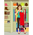 woman standing near a closet vector image vector image